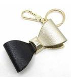 フルラ FURLA ヴィーナス リボン キーリング キーホルダー バッグチャーム バイカラー ブラック ゴールド 黒 金