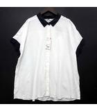 レーヨン エアリー カラーブロック ブラウス シャツ 半袖 バイカラー オフホワイト 白 XL