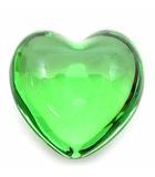 バカラ Baccarat ペーパーウエイト ハート クリスタル オブジェ インテリア 置物 グリーン 緑 超美品