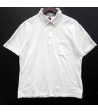 ボタンダウン ポロシャツ 半袖 鹿の子 ワンポイント オフホワイト 白 3