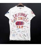 プリント Tシャツ カットソー 半袖 ダメージ加工 クルーネック オフホワイト 白 S イタリア製