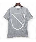 エンブレム Tシャツ カットソー 半袖 クルーネック プリント グレー 灰 XS