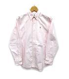 ラルフローレン RALPH LAUREN オックスフォード ボタンダウン シャツ 長袖 ストライプ ワンポイント ホワイト ピンク 160 美品 レディース