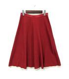 ダーマコレクション dama collection ニット フレア スカート 膝丈 裾ライン レッド 赤 S 美品
