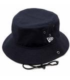 ニューエラ NEW ERA バケット01 ハット 帽子 ダック コットン 裏メッシュ アゴ紐付き 紺 ネイビー L XL 美品