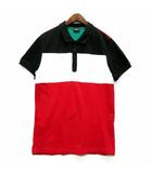 ディーゼル DIESEL ブロック カラー ポロシャツ 半袖 ワンポイント 鹿の子 レッド 赤 L 美品