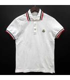 モンクレール MONCLER ティップライン ポロシャツ 半袖 ロゴ ワッペン 鹿の子 ホワイト 白 S 国内正規