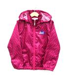 サムシング something ドット レイン ジャケット ジャンパー フード付き 雨具 ジップアップ 刺繍 長袖 ピンク 120