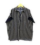 シューラルー SHOO・LA・RUE ストライプ スキッパー シャツ ブラウス プルオーバー 袖レース 半袖 ネイビー 紺 L 美品