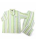 ダックス DAKS 夏用 パジャマ 上下 セットアップ ストライプ 半袖 シャツ パンツ グリーン L
