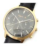 クロノグラフ 腕時計 クォーツ VD53-KWB0 ブラック ピンクゴールド 美品