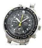 パイロット フライト アラーム クロノグラフ 200m防水 クォーツ 腕時計 SNA411P1 7T62-0EB0 ブラック 黒文字盤 SS 美品