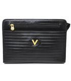 ロゴ型押し レザー セカンドバッグ クラッチバッグ 黒 ブラック ゴールド金具 イタリア製
