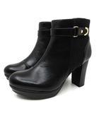 厚底 ブーツ ストーム ヒール ショート ブーツ 8890647 ブラック 黒 23cm 新品同様
