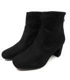 ストレッチ ショート ブーツ フェイクスエード ブラック 黒 23.5cm F97-15006 新品同様