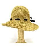 グレース GRACE ペーパーハット 帽子 リボン ローゲージ  編み込み メッシュ ベージュ ※AI 190412