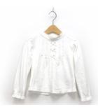 クミキョク 組曲 KUMIKYOKU TODDLER 50/ースムースバイオカットソー トップス Tシャツ リボン レース 長袖 キッズ 女の子 白 S ※HM190412
