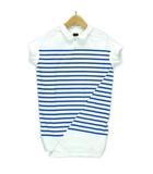 キャピタル kapital ポロシャツ 半袖 ボーダー アシンメトリー ブルー × ホワイト 1 ※RT190609