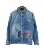 ジャパンブルージーンズ JAPAN BLUE JEANS デニム シャツ 長袖 ダメージ加工 リメイク加工 M ブルー 190417K