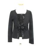 エムズグレイシー M'S GRACY アンサンブル カーディガン 長袖 カットソー 半袖 スパンコール装飾 38 ブラック 黒 191001E