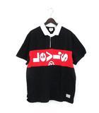リーバイス Levi's L-TAB ラグビーポロシャツ LYCHEE プルオーバー 半袖 XL 黒 ブラック × 赤 レッド 191008O