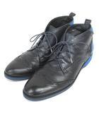 ツモリチサト TSUMORI CHISATO TM51AJ724 レースアップシューズ ウィングチップ メダリオン 26cm ブラック × ブルー 靴 200110E