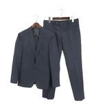 スーツセレクト SUIT SELECT セットアップ 2釦 シングル ジャケット スーツ 0タック パンツ スラックス チェック ネイビー 200706E