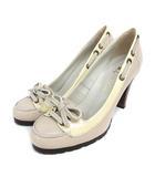 ダイアナ DIANA パンプス スムース リボン 23cm アイボリー 靴 200804EE