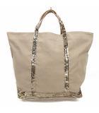 ヴァネッサブリューノ Vanessa bruno LE CABAS トートバッグ スパンコール装飾 キャンバス ベージュ 鞄 200812E ※VGP