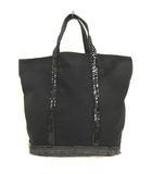 ヴァネッサブリューノ Vanessa bruno LE CABAS トートバッグ スパンコール装飾 キャンバス ブラック 鞄 200812E ※VGP