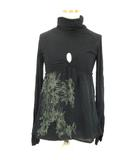 ディーゼル DIESEL Tシャツ カットソー 切替 シフォン タートルネック 長袖 黒 ブラック S IBS68