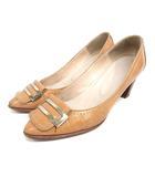 ダイアナ DIANA パンプス アーモンドトゥ 24.5cm ブラウン 靴 200925E ※VGP0