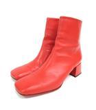 メゾンエウレカ MAISON EUREKA SQUARE TOE SHORT BOOTS レザー ショート ブーツ スクエアトゥ 38 赤 レッド 靴