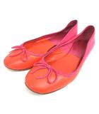 セリーヌ CELINE バレエ シューズ フラット パンプス 36 ピンク オレンジ 210218E 靴 IBS94
