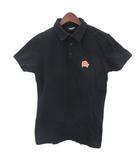 オリガミ刺繍 ワッペン ポロシャツ カメ 半袖 M 黒 ブラック