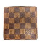 ルイヴィトン LOUIS VUITTON 16年製 ポルトフォイユ マルコ ダミエ 二つ折り 財布 N61675 ウォレット CA1186 茶 ブラウン