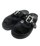 エムエムシックス MM6 ベロア調 サンダル フラット ベルト 38 黒 ブラック 靴