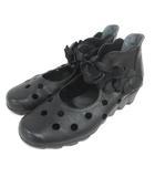 Mu21 ウォーキングシューズ パンプス 花 24cm ブラック 210423E 靴 ※OIM