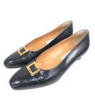 セリーヌ CELINE パンプス 36.5 ネイビー 210507E 靴 ☆AA★