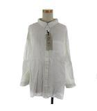 リネン 2WAY ワイド シャツ オーバーサイズ ドロップショルダー 無地 L 白 ホワイト