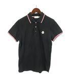 モンクレール MONCLER 14SS MAGLIA POLO MANICA CORTA ポロシャツ 半袖 ワッペン コットン 無地 S 黒 ブラック IBO9