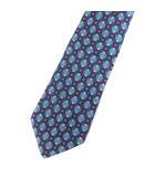 エルメス HERMES シルク レギュラー ネクタイ 総柄 ブルー
