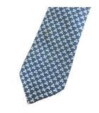 シルク レギュラー ネクタイ 総柄 ブルー