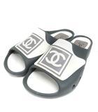 シャネル CHANEL スポーツライン ココマーク スポサン サンダル フラット 41 グレー 靴 ECR8