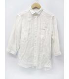 タケオキクチ TAKEO KIKUCHI 麻 ワイヤー入り 七分袖 リネンシャツ 白 2