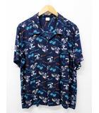 ディズニー Disney ミッキー アロハシャツ オープンカラー 開襟 L 紺 ネイビー