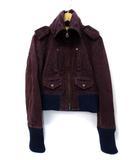 ディースクエアード DSQUARED2 微起毛 袖リブ エポレット ジップアップ ミリタリージャケット ブルゾン バーガンディー 42 国内正規