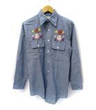 ビックマック BIGMAC ビンテージ ノーアイロン 胸ポケット付き 花柄刺繍 長袖 シャンブレーシャツ