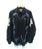 ジバンシィ GIVENCHY PARIS Icarus Print Shirt イカロス プリント 長袖 オーバーサイズ シャツ43 BLACK 黒