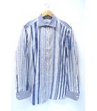 エトロ ETRO ペイズリー柄 ショートカラー 長袖 プリント ストライプ シャツ 43 イタリア製 ブルー